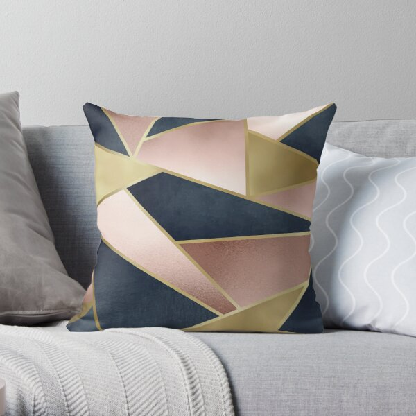Geometric, Rose Gold, Pink, Gold and Navy Blue, Abstract, Pattern Throw Pillow