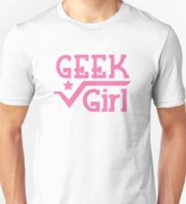 GEEK Girl cute girly pink nerd design Unisex T-Shirt