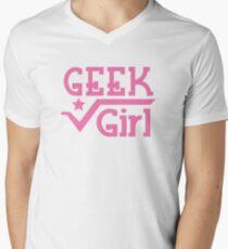 GEEK Girl cute girly pink nerd design Men's V-Neck T-Shirt