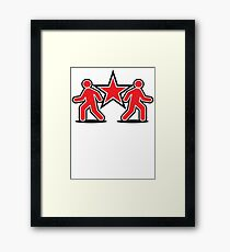 Dancing shuffle man RED STAR Framed Print