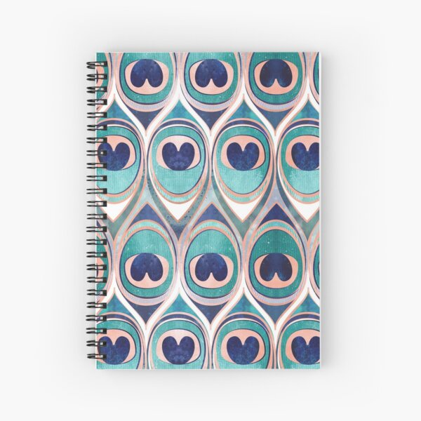 Peacock Feathers Eye // teal blue and metal coral rose Spiral Notebook
