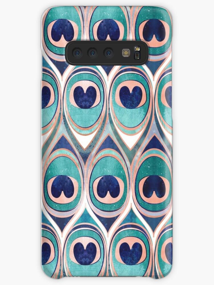 «Plumas de pavo real Ojo / verde azulado azul y metal coral rosa» de SelmaCardoso