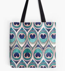 Peacock Feathers Eye // teal blue and metal coral rose Tote Bag