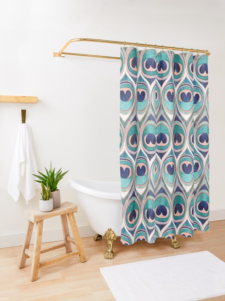Alternate view of Peacock Feathers Eye // teal blue and metal coral rose Shower Curtain