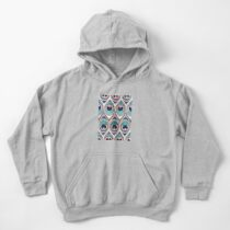 Peacock Feathers Eye // teal blue and metal coral rose Kids Pullover Hoodie