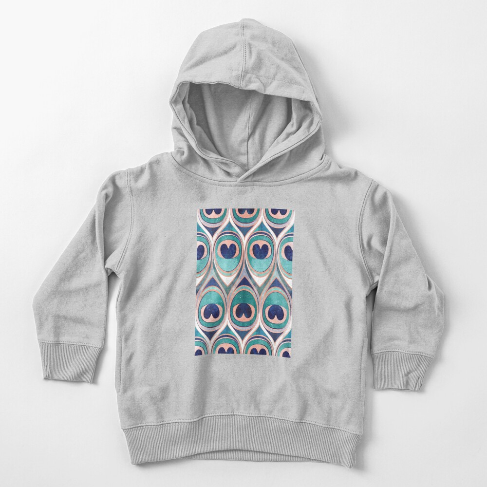 Peacock Feathers Eye // teal blue and metal coral rose Toddler Pullover Hoodie