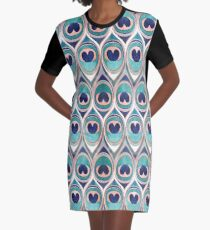 Peacock Feathers Eye // teal blue and metal coral rose Graphic T-Shirt Dress