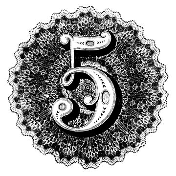 Old School Number Five, 5 by TOMSREDBUBBLE