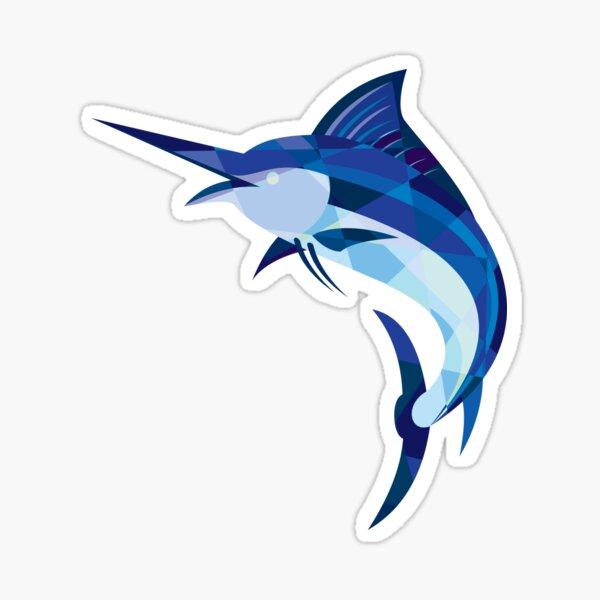 Blue Marlin Fish Jumping Low Polygon Sticker