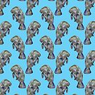 Blue Watercolor Manatee Pattern by TimorousEclectc
