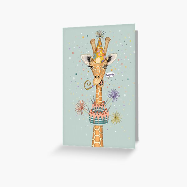 Surprise Happy Birthday Giraffe  Greeting Card