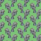 Green Watercolor Manatee Pattern by TimorousEclectc