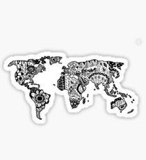 Karte der Welt Zentangle Sticker
