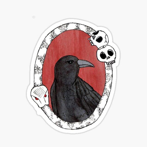 Crow in Vintage Frame Sticker