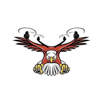 Half Eagle Half Drone Swooping Mascot  by patrimonio