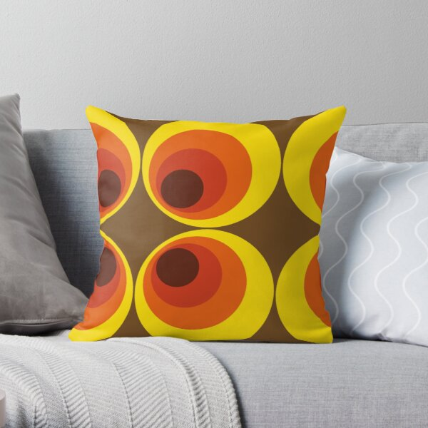 70s, 80s funky vintage circle pattern Throw Pillow