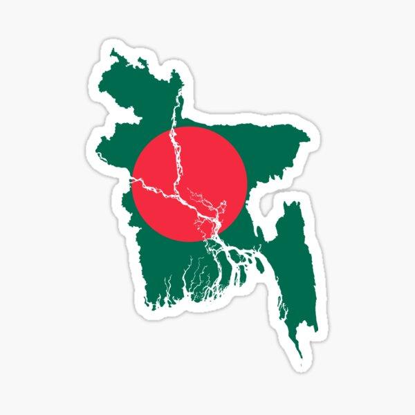 Flag Map of Bangladesh  Sticker