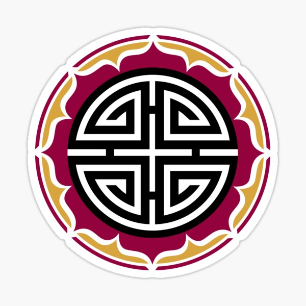 Four blessings, Chinese Good Luck Symbol, Lotus Flower Sticker