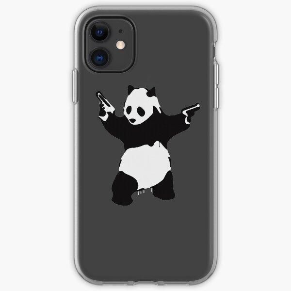 Banksy Pandamonium Armed Panda Artwork, Pandemonium Street Art, Design For Posters, Prints, Tshirts, Men, Women iPhone Soft Case