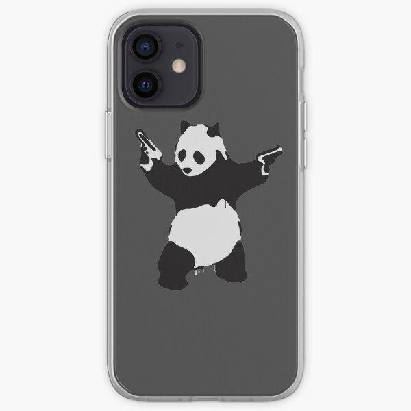 Oeuvre de panda armé de Banksy Pandamonium, Pandemonium Street Art, Design pour affiches, Impressions, T-shirts, Hommes, Femmes Coque souple iPhone