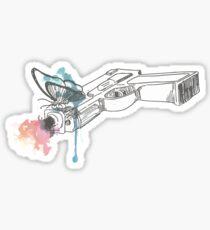 Pegatina La vida es extraña pistola Watercolored