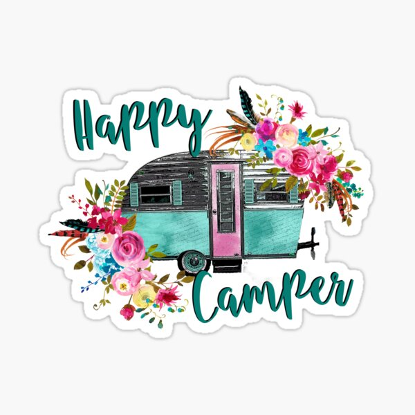 Happy Camper - Vintage RV / Camping Trailer - Gifts for Camping Lovers Sticker