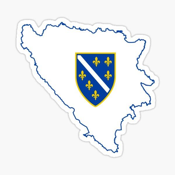 Flag Map of Bosnia & Herzegovina, 1992-1998 Sticker