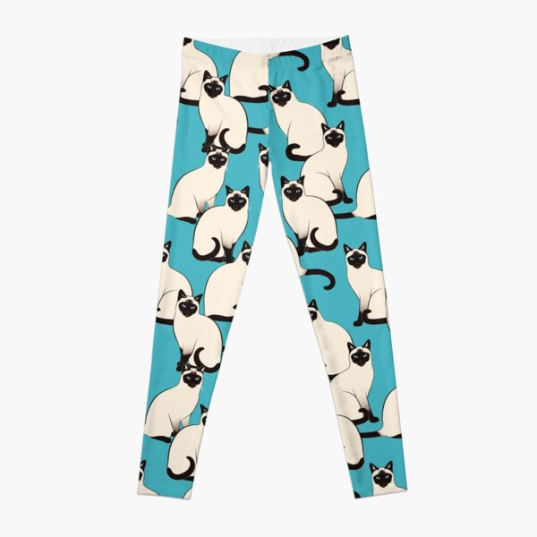 Siamese Cats dense on turquoise Leggings