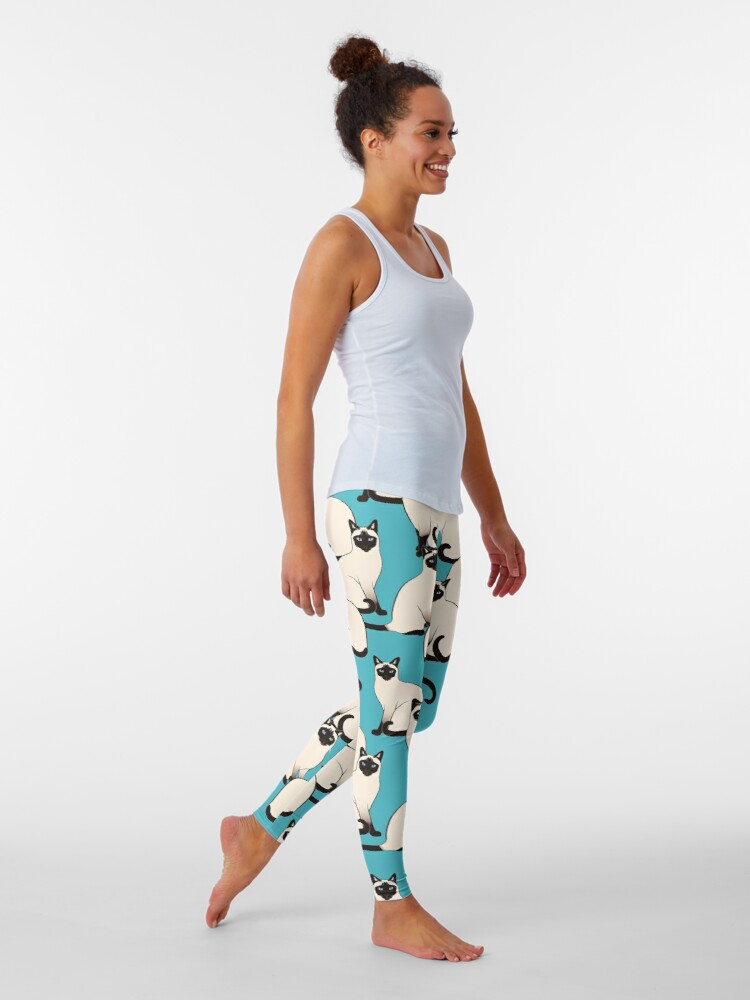 Alternate view of Siamese Cats dense on turquoise Leggings