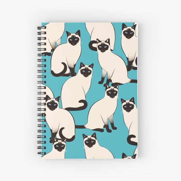 Siamese Cats dense on turquoise Spiral Notebook