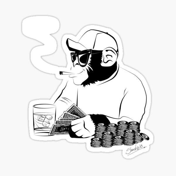 Chimp poker Sticker