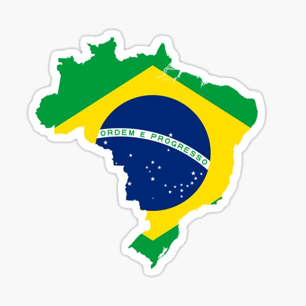 Brazil Flag Map Sticker