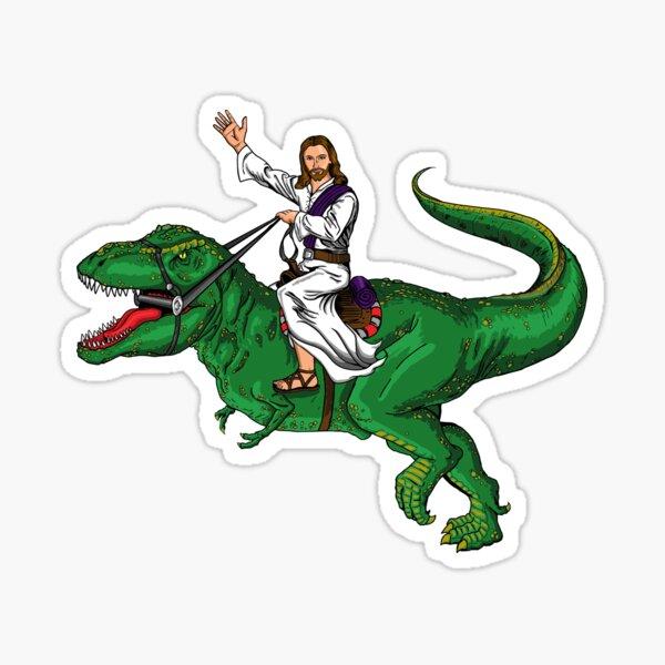 Jesus Riding a Dinosaur Sticker
