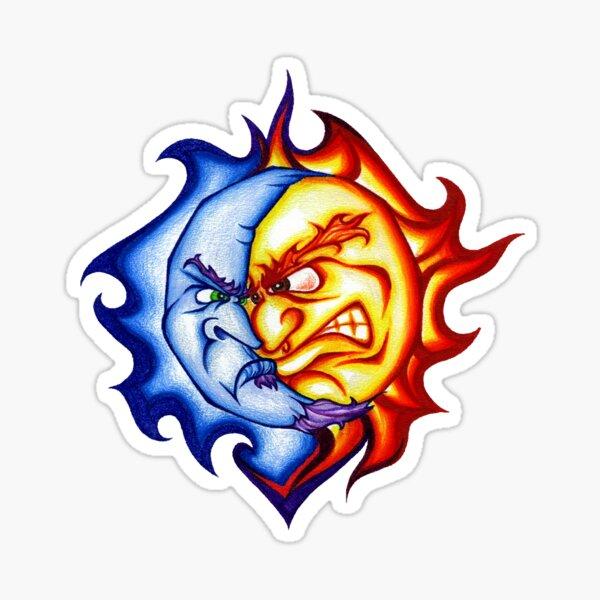 Batterhead Down Sun/Moon Tattoo Sticker