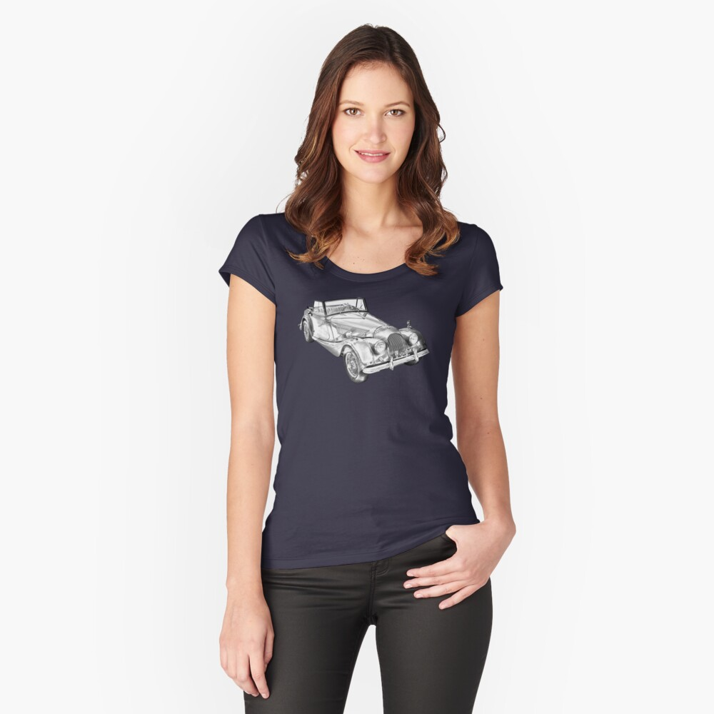 1964 Morgan Plus 4 Convertible Sports Car Illustration Camiseta entallada de cuello ancho