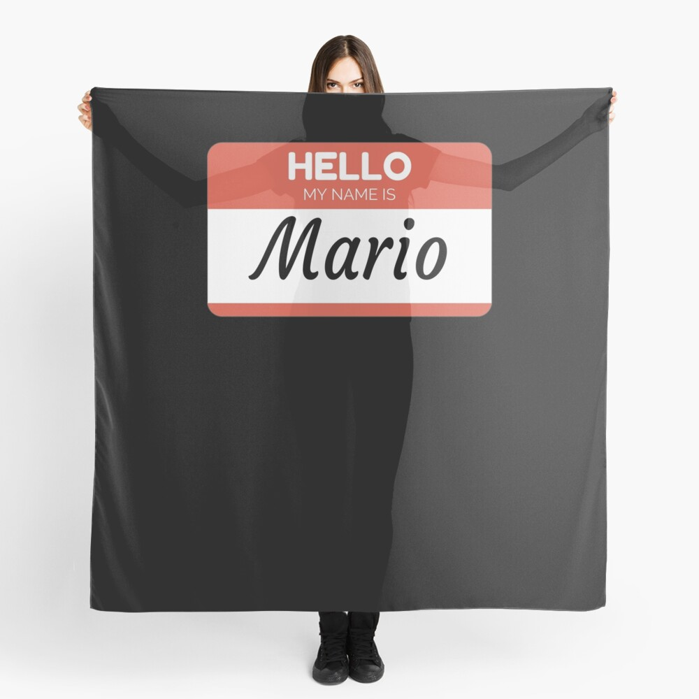 Mario Name Label  Hello My Name Is Mario Gift For Mario or for a female you know called Mario Pañuelo
