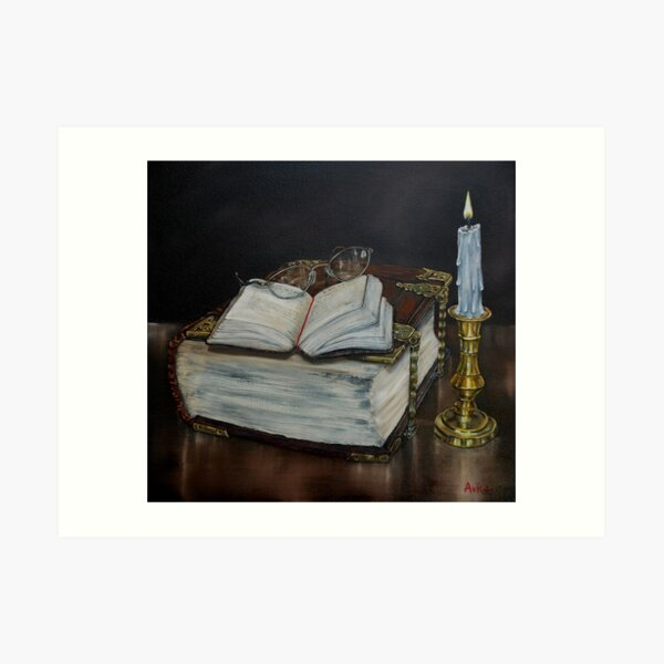 """""""Old Family Bible and Psalm Book"""" - Oil Painting Art Print"""