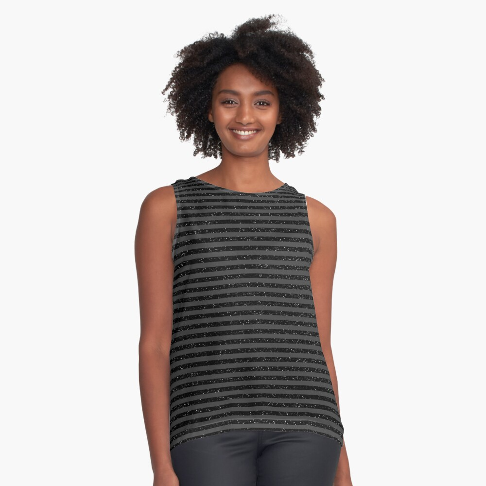 Black On Black Gothic Glitter Look With Striped Pattern Contrast Tank Front