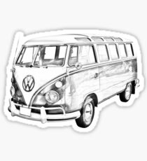 Classic VW 21 window Mini Bus Illustration Sticker
