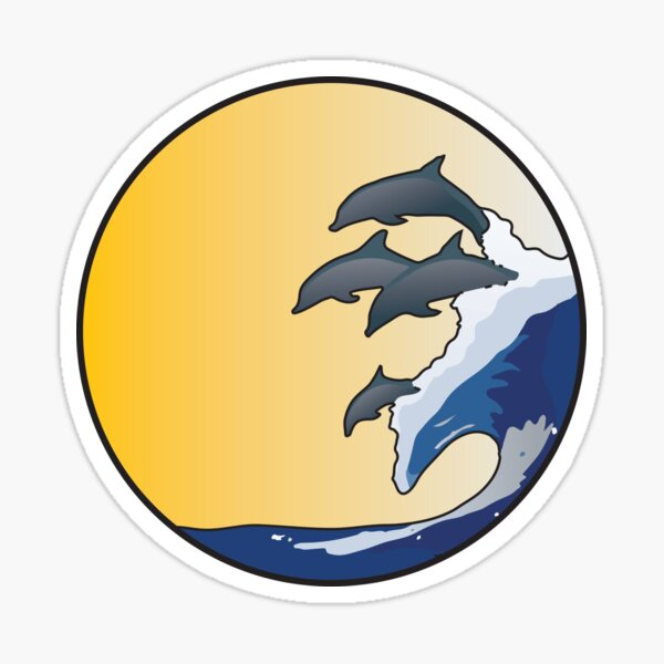 The Wave and Dolphins Sticker