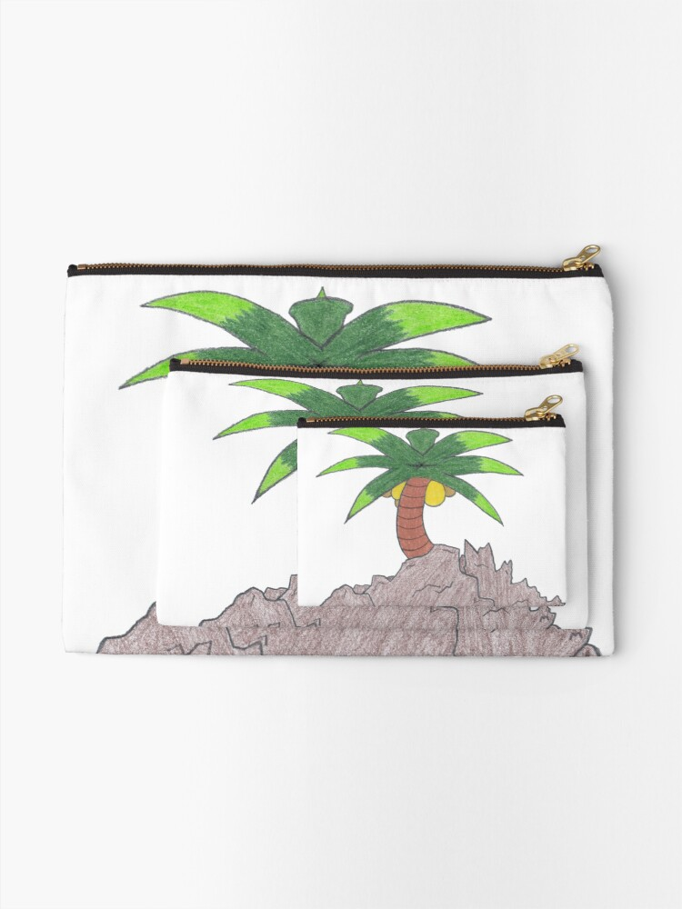 Alternate view of Merch #19 -- Palm Atop The Rugged Embankment Zipper Pouch
