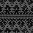 Floral Lace, Black on Gray  by Etakeh