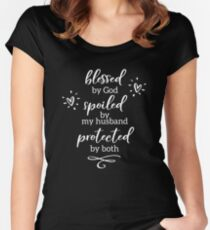 Blessed By God - White Writing on Dark Tshirt Women's Fitted Scoop T-Shirt