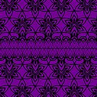 Floral Lace, Black on Purple by Etakeh