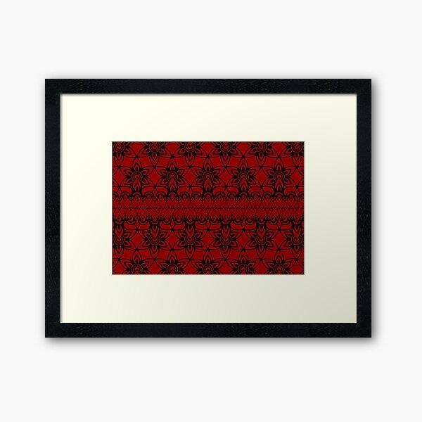 Floral Lace, Black on Red Framed Art Print