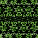 Floral Lace, Green on Black by Etakeh