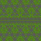 Floral Lace, Green on Gray by Etakeh