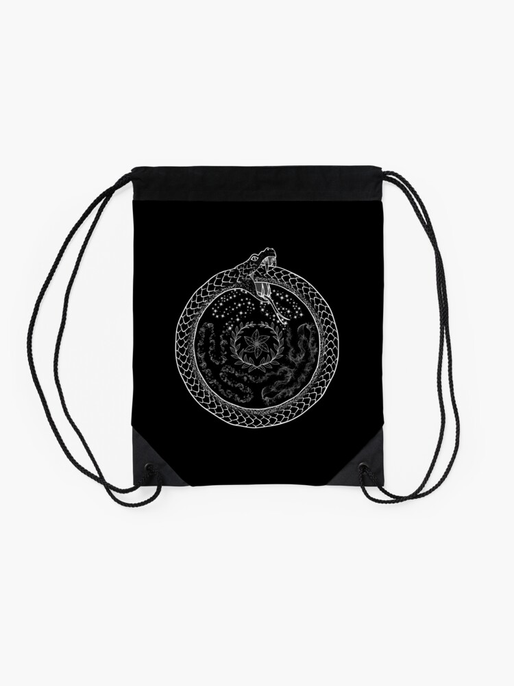 Alternate view of Hekate Wheel Hecate Strophalos Ouroboros Pagan Witch Drawstring Bag