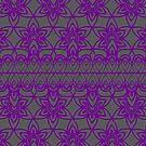 Floral Lace, Purple on Gray by Etakeh