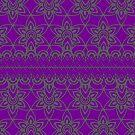 Floral Lace, Gray on Purple by Etakeh